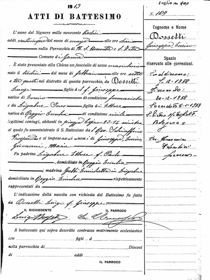 1913 certificato di Battesimo - Genova