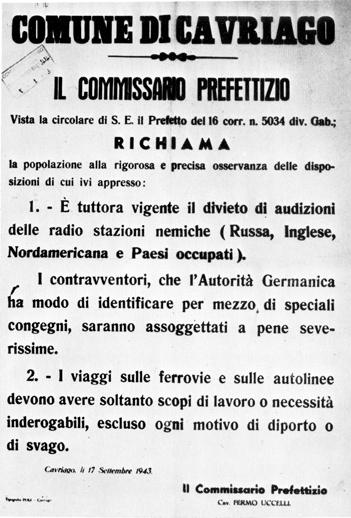 1943 09 17 manifesto Prefetto Cavriago