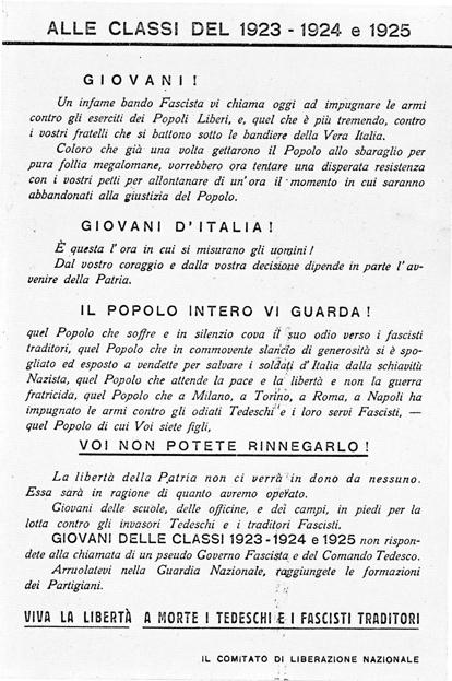 1943 Cavriago antifascista - appello del CLN a classi '23 '24 '25