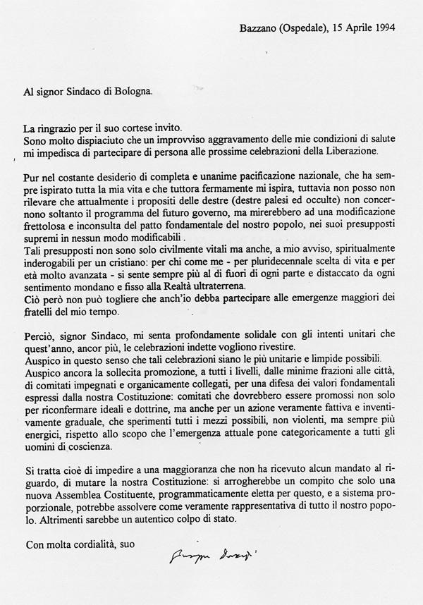 1994 04 15 Lettera al sindaco di Bologna Vitali