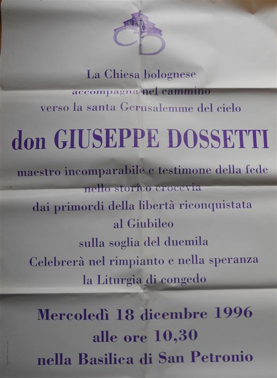1996 12 16 Locandina funerali Chiesa di Bologna