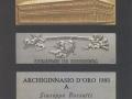1986 02 22 il premio Archiginnasio 1985, poi donato al santuario di Bocca di Rio